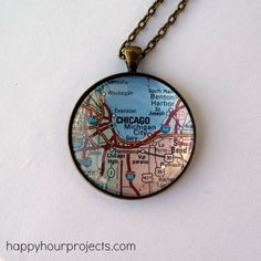 Map Pendant Necklace Tutorial DIY