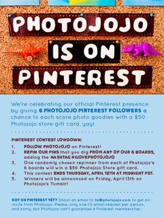 Woohoo, Photojojo is officially launching our Pinterest boards! :) Follow us & see how you can win one of 6 Photojojo store gift cards in the contest deets above.