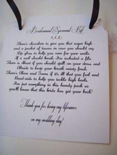 Bridesmaid Survival Kit Tags- Thank you- Non-Personalized With poem, Set of 5- Ready to Ship. $20.00, via Etsy.