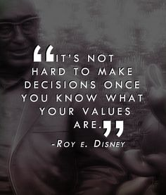 It's not hard to make decisions once you know what your values are. - Roy Disney
