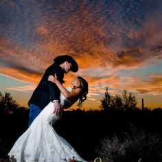 Western Arizona Wedding. You will always find a beautiful sunset for wedding pictures in AZ!