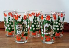 Fabulously Retro Holiday Highball Glasses Merry Christmas Happy New Year.