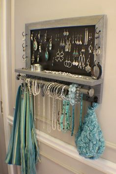 Rustic Weathered Grey Scroll Trim Series Wall Mounted Jewelry Organizer with Bracelet Bar, Wall Organizer, Jewelry Display, Necklace Holder