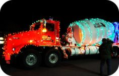 cement truck in Christmas parade