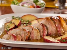 Bacon Wrapped Pork Tenderloin - It only take 30 minutes and 4 ingredients to put together this pork tenderloin dinner recipe. Wrapped in succulent bacon, this weeknight dinner is a hit every time.