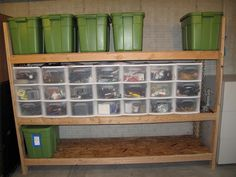 The use of pull out drawers, stacked is wonderful. Keep all storage off the floor in a garage or basement.