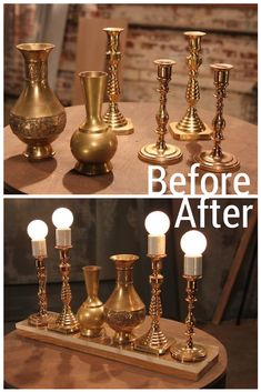 Old Brass Candlesticks and Vases Become an Illuminating Light Fixture