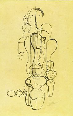 Oskar Schlemmer, Figure Plan K1. 1923. This drawing was banned by the Nazi regime and exhibited at the Degenerate art exhibition in Munich in 1937.