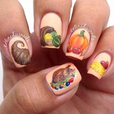 fingernail art, thanksgiv nail, happi thanksgiv, celinedoesnail, nail fun, nail design, holiday nail, nail exchang, thanksgiving nails