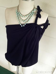 WobiSobi: One Shoulder, Double Tied, No Sew Tee Shirt: DIY.
