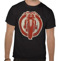 Custom Vintage MC T-shirt Design - comes in many styles and colours, both men's and lady's / women's (retro, motorcycle, motorbike, red, white, black, t-shirts, tee, tees, t shirt, tshirt, creative, cool, graphic, text)