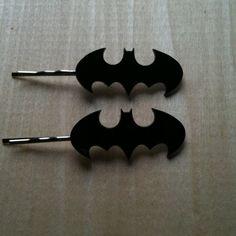 I want these!  Batman Logo Bobby Pins, Bat Pins, Black Acrylic Hair Pins. $12.00, via Etsy.