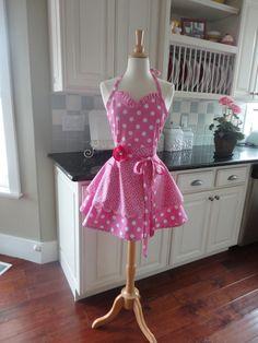 "4RetroSisters ""Sadie Mae"" Style Womens Full Retro Apron -  Bubble Gum Pink Sweetheart Neckline $37.50"