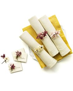 Cornhusk flower napkin rings and place cards.