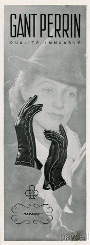 Le Gant Perrin Havane gloves ad (1938). #vintage #1930s #gloves #ads