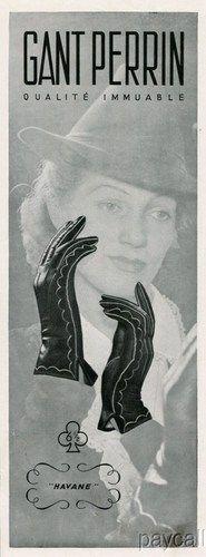 Le Gant Perrin Havane gloves ad (1938). #vintage #1930s #gloves #ads