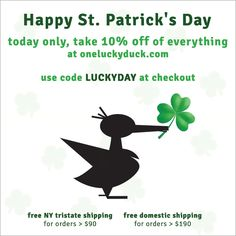 Today only, take 10% off of everything online! Use code LUCKYDAY at checkout.