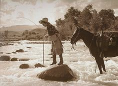 This photo features Annie Belden taken by her husband and well-known Rocky mountain photographer, Charles Belden on the Pitchfork Ranch in Cody, Wyoming, circa 1935.