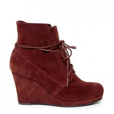 suede lace-up wedge bootie