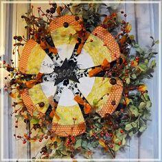 DIY / Craft:  Fall Candy corn wreath #Fall decor #Halloween #Autumn #Harvest