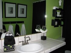 Lime green bathrooms on pinterest lime green paints for Green and black bathroom ideas