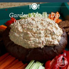 The perfect summer side-dish: Garden Veggie Dip in a Bread Bowl...YUM!