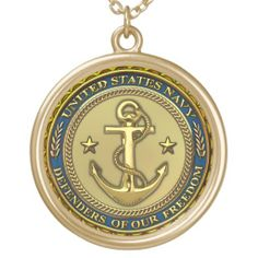 US Navy Round  Silver Plate Necklace