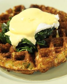 Cheese And Herb Waffles Florentine