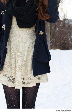 Lace top, navy jacket and polka dot tights