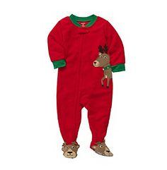 Carter's® Boys' 4-7 Red Reindeer Print Footed Pajamas