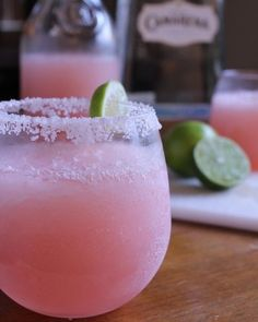Pink Lemonade Margarita. This is in my fridge right now. Can't wait to try it with our tacos tonight!!