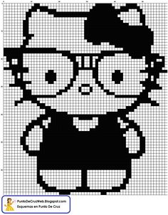 Hello Kitty blanco y negro Punto De Cruz