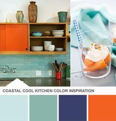 Tuesday Huesday: Color Inspiration for My Kitchen (and Yours!) From HGTV's Design Happens Blog (http://blog.hgtv.com/design/2013/05/14/turquoise-orange-kitchen-color-palette/?soc=pinterest)