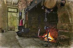 Colonial fireplace with cooking tools