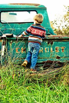vintage truck jeans sweater, good for any age photo