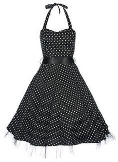 Lindy Bop 'Bonnie' Black Polka Dot Vintage 1950'S Rockabilly Pinup Halter Party Swing Dress,$46.99