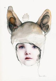 animal hats, kareena zerefo, ear, galleri, the face, art, child portraits, inspir, illustr