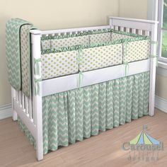Baby Crib bedding in Solid White, White and Gold Dot, Mint and Gold Chevron, Solid Mint. Created using the Nursery Designer® by Carousel Designs where you mix and match from hundreds of fabrics to create your own unique baby bedding.