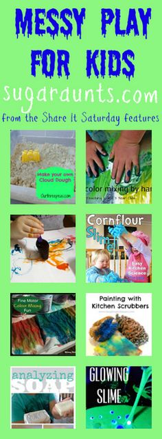"""Plan a Messy Play Date and use these 8 activities for """"stations"""".  All of the recipes for messy, sensory play are right here."""