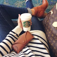 Great fall outfit Thick striped sweater, 3/4 pants, brown leather boots, coffee mmmm great casual outfit