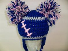 Crocheted football hat - no pattern but would be easy to adapt a basic hat pattern to make something similiar