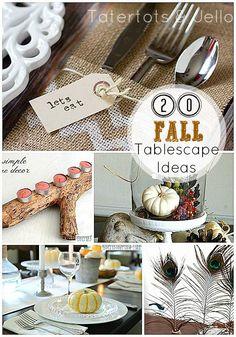 20 Fall Tablescape Ideas!! -- Tatertots and Jello #DIY #fall