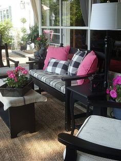 Black, white and pink porch via The Polo House. old furniture, color, country decor, black white, patio, deck, buffalo check, front porches, black furniture