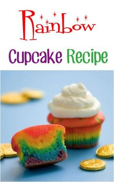 Rainbow Cupcake Recipe! ~ perfect for your parties and St. Patrick's Day treats! #cupcakes