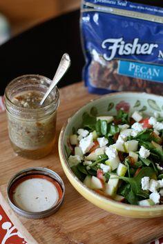 Autumn Spinach Salad with Pecan Vinaigrette | www.aggieskitchen.com #thinkfisher