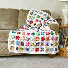 Granny Square Afghan Crochet Blanket Multi by ReneeBrownsDesigns #crochet #blanket #grannysquare #colorful #afghan
