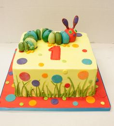 The very hungry caterpillar cake.  Two tier, though with the sun and caterpillar topper.