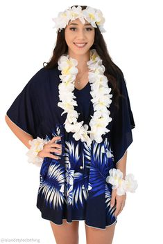 Ladies Navy Coconut Leaves Kaftan with Lei Set - soft and comfortable beach cover up. Throw this delightful caftan over your bikinis or jeans for a day at the beach, cruising or casual wear. Lots of colours and patterns to choose from. #poncho #kaftan #bikini #beachcoverup #caftan #plumeria #luau #luauparty #coverup #beachwear #cruise #cruisewear #luau #luauparty #luaupartycostume #fancydress #luaudress #hawaiiancostume
