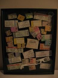 Ticket stubs in a shadow box