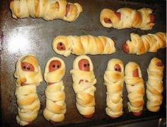 Mummies in a blanket... hot dogs and crescent rolls. Made these for daycare last year. The kids AND the teachers loved them...and they are so easy to make